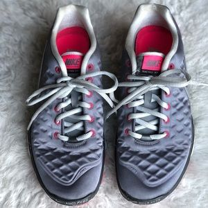 Nike Free Sneakers metallic silver and pink
